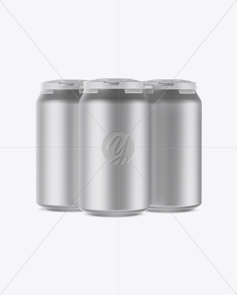 Download Pack With 4 Metallic Cans With Plastic Holder Mockup Front View High Angle Shot PSD - Free PSD Mockup Templates