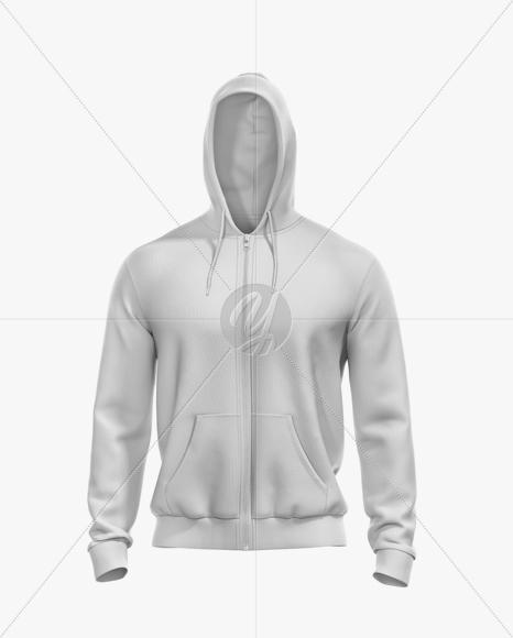 Men's Full-Zip Hoodie Mockup - Front View