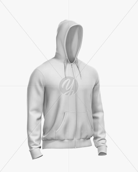 Men's Full-Zip Hoodie Mockup - Half Side View