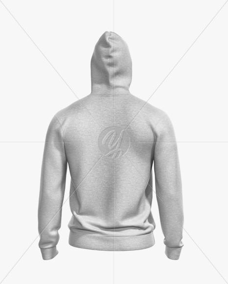 Melange Men's Full-Zip Hoodie Mockup - Back View