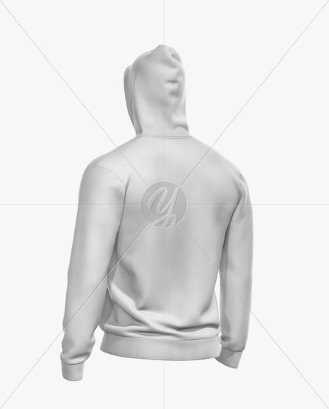 Men's Full-Zip Hoodie Mockup - Back Half Side View
