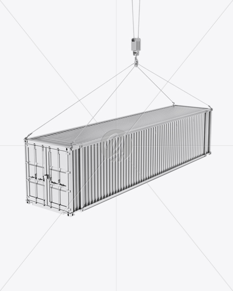 40F Shipping Container with Slings Mockup - Halfside View