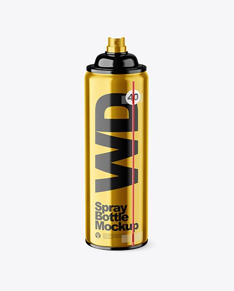 Opened Metallic Spray Bottle Mockup