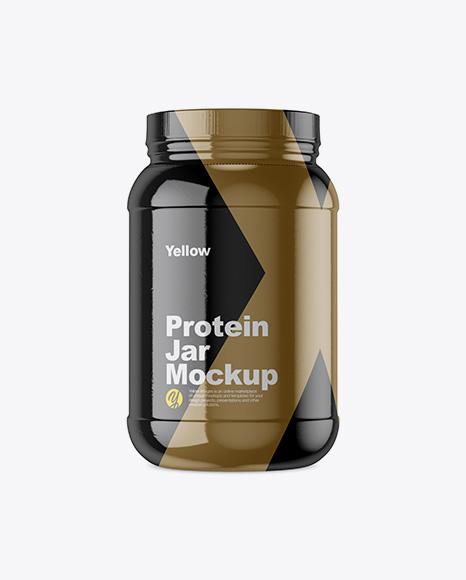 Download Protein Jar In Matte Shrink Sleeve Mockup PSD - Free PSD Mockup Templates