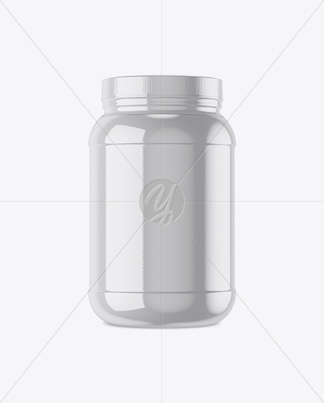 2lb Protein Jar in Glossy Shrink Sleeve Mockup