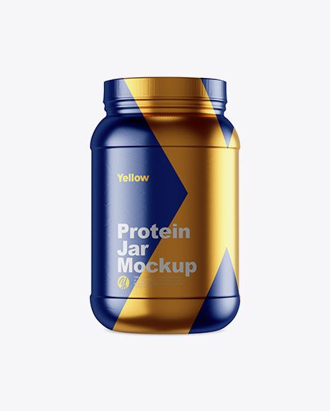 Download 2lb Protein Jar in Metallic Shrink Sleeve Mockup Object Mockups