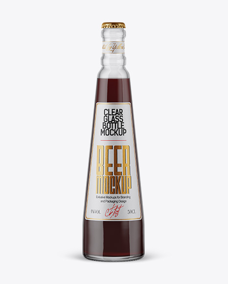 Download 330ml Clear Glass Brown Ale Bottle Mockup PSD - Free PSD Mockup Templates