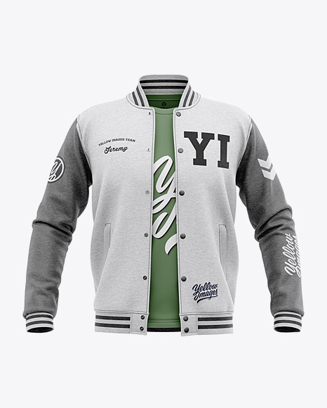 Download Open Heather Varsity Jacket Mockup Front View Object