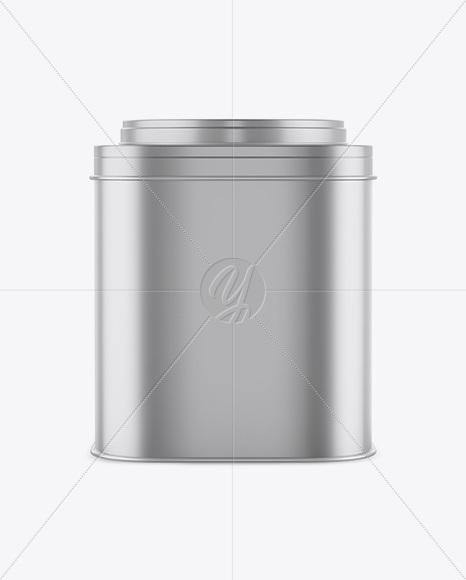 Metallic Square Tin Box Mockup - Front View