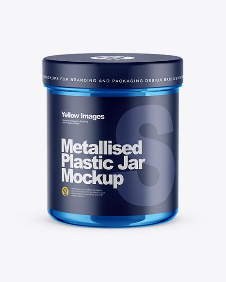 Download Free Metallic Jar Mockup - Front View (High-Angle Shot) PSD Template