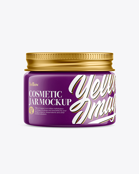 Glossy Cosmetic Jar with Metallic Cap Mockup - Front View