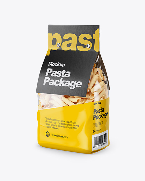Download Pennette Rigate Pasta with Paper Label Mockup - Half Side View Object Mockups