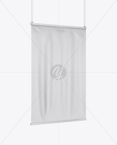 Matte Banner Mockup - Half Side View
