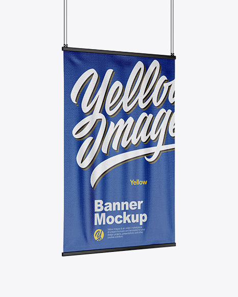 Textured Banner Mockup - Half Side View