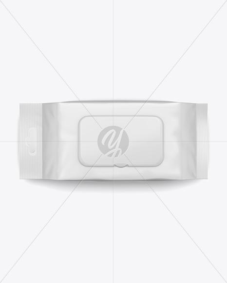Matte Wet Wipes Pack W/ Plastic Cap Mockup - Top View