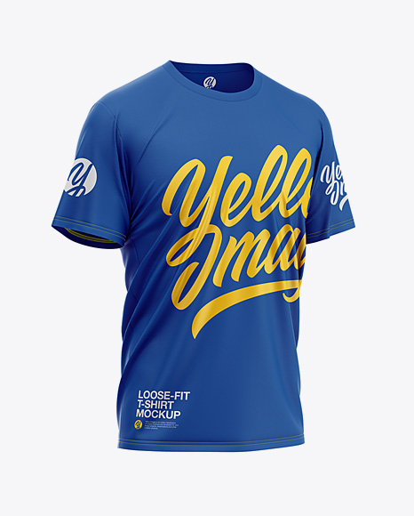 Download Mens Loose Fit Graphic T Shirt Front View Yellow Images