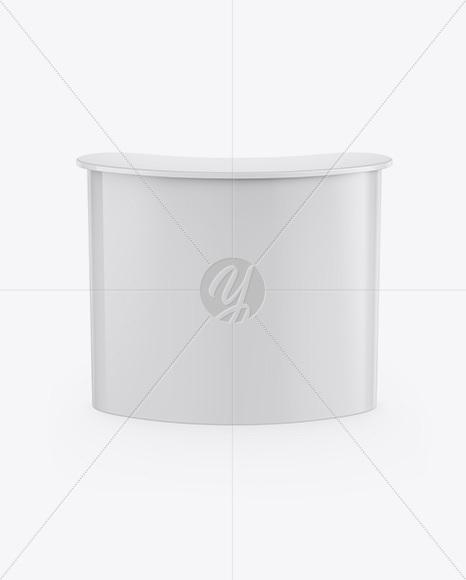 Glossy Advertising Counter Mockup - Front View (High-Angle Shot)