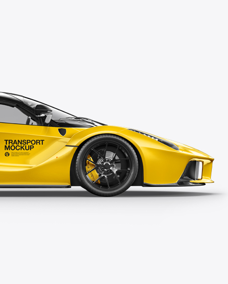 Download Super Car Mockup Side View In Vehicle Mockups On Yellow Images Object Mockups PSD Mockup Templates