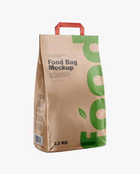 Kraft Food Bag Mockup - Half Side View