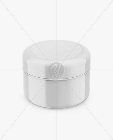 Glossy Plastic Cosmetic Jar Mockup - Front View (High Angle Shot)