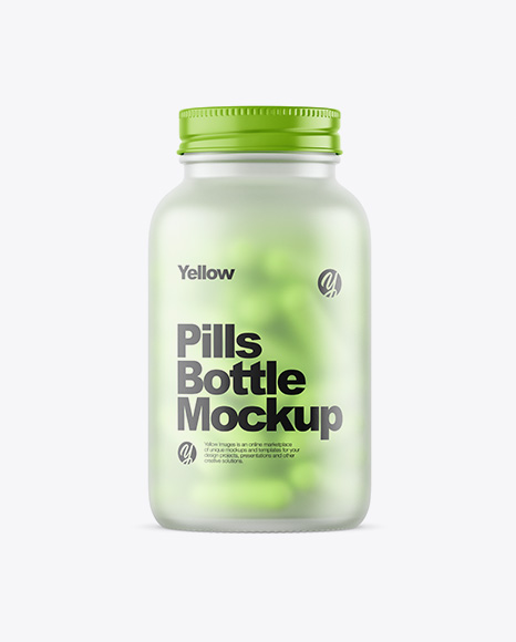 Download Free Frosted Glass Bottle With Pills Mockup PSD Template