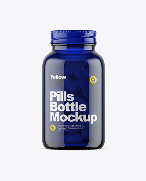 Download Dark Blue Glass Bottle With Pills Mockup Object Mockups