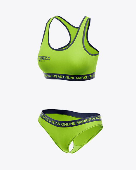 Women`s Underwear Kit Mockup - Front Half Side View
