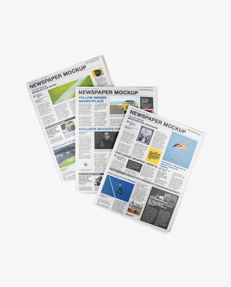 Three Newspapers Mockup - Top View