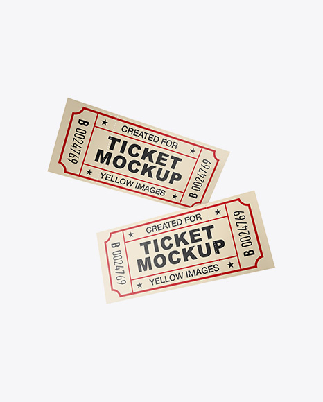 Two Matte Paper Tickets Mockup