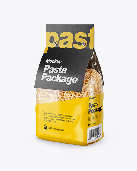 Download Ruote Pasta with Paper Label Mockup - Half Side View Object Mockups