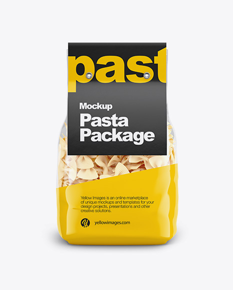 Download Fiocchi Rigati Pasta with Paper Label Mockup - Front View Object Mockups