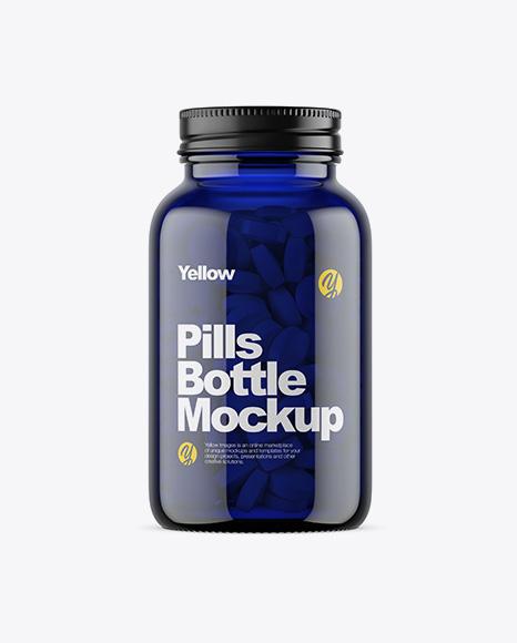 Download Dark Blue Glass Bottle With Pills Mockup Object Mockups