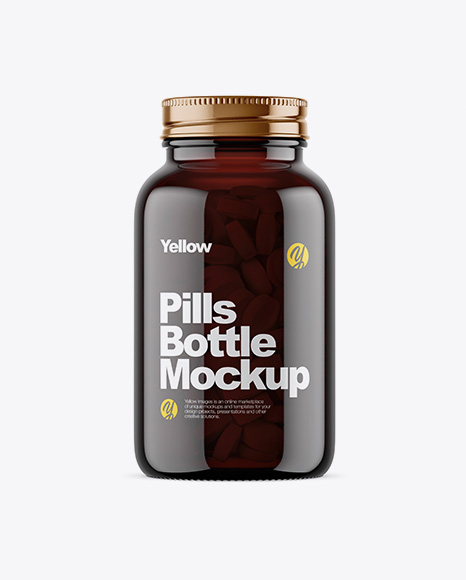 Download Free Dark Amber Glass Bottle With Pills Mockup PSD Template