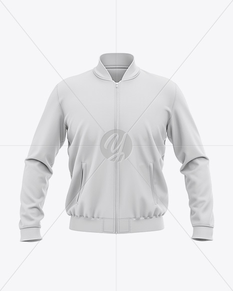 Men's Zipped Bomber Jacket Mockup - Front View
