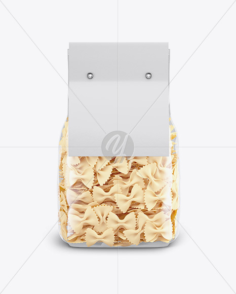Farfalle Pasta with Paper Label Mockup - Front View