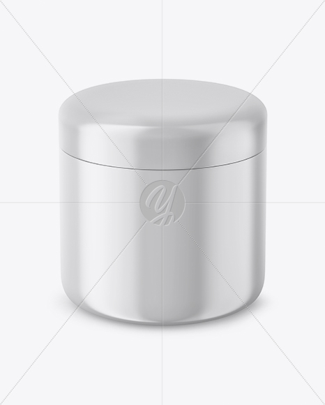 Matte Plastic Cosmetic Jar Mockup - Front View (High Angle Shot)
