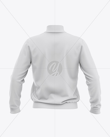 Men's Zipped Bomber Jacket Mockup - Back View - Baseball Jacket
