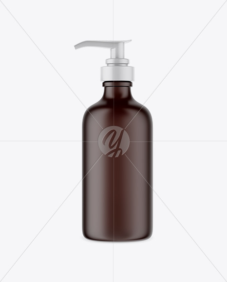 Amber Cosmetic Bottle w/ Pump Mockup