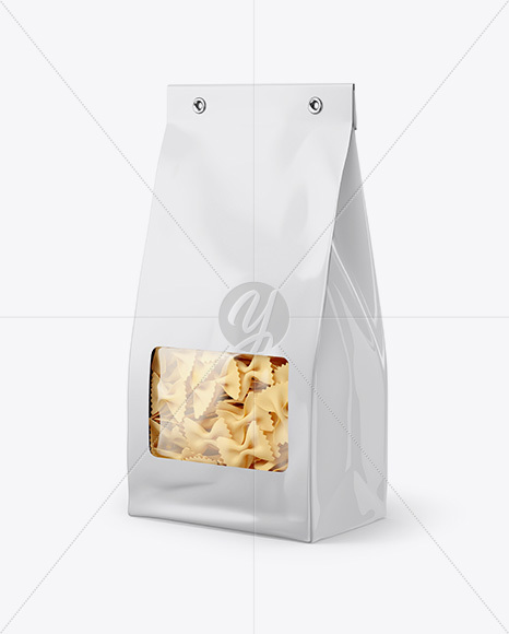 Paper Bag with Farfalle Pasta Mockup - Half Side View