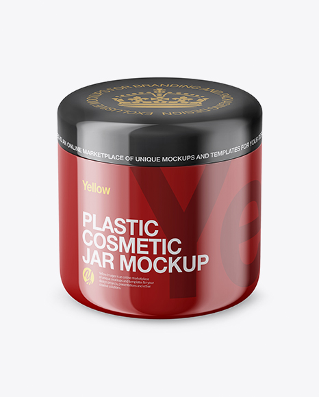 Download Glossy Plastic Cosmetic Jar Mockup Front View (High Angle Shot) Object Mockups