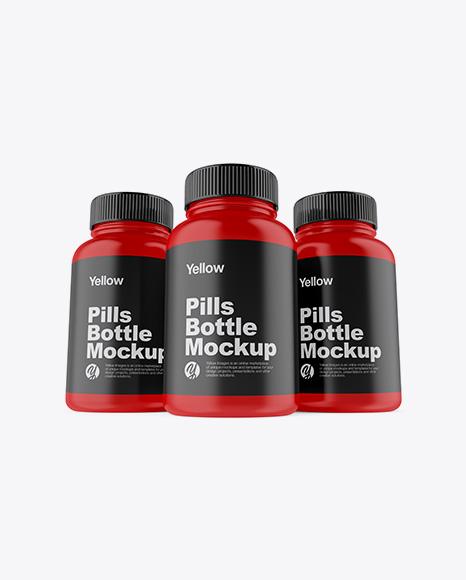 Download Three Matte Pills Bottles Mockup - Front View (Hero Shot) Object Mockups