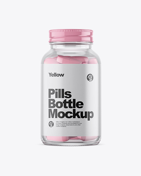 Clear Glass Bottle With Pills Mockup - Premium PSD Mockups