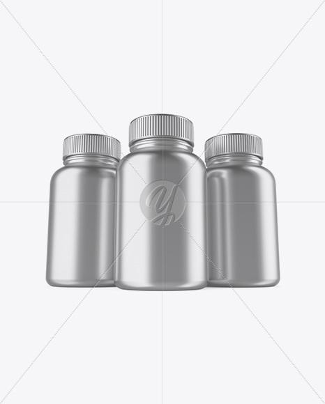 Three Metallic Pills Bottles Mockup - Front View (Hero Shot)