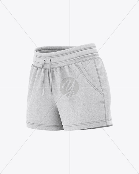 Women's Heather Sport Shorts Mockup - Front Half Side View