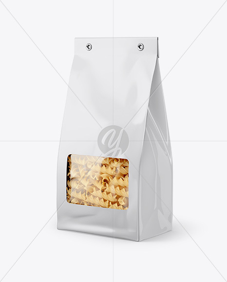 Paper Bag with Fusilli Pasta Mockup - Half Side View