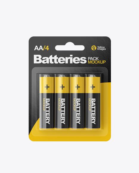 Download 4 Pack Battery AA Mockup Object Mockups