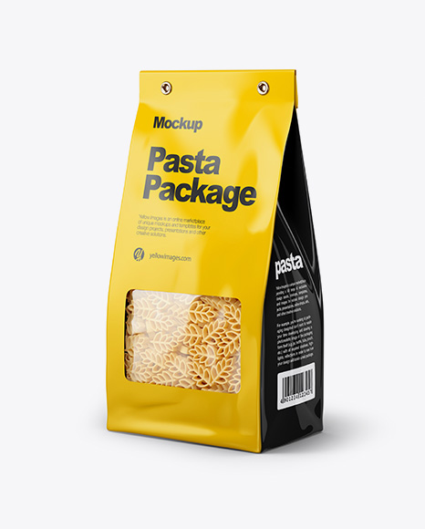 Download Paper Bag with Spighe Pasta Mockup - Half Side View Object Mockups