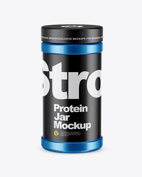 Download Free Metallic Protein Jar Mockup - High-Angle Shot PSD Template
