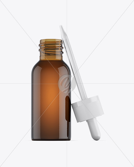 Opened Amber Glass Dropper Bottle Mockup