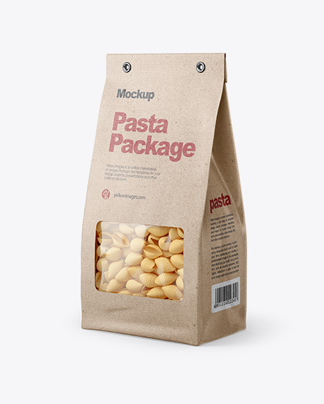 Kraft Bag with Conchiglie Pasta Mockup - Half Side View